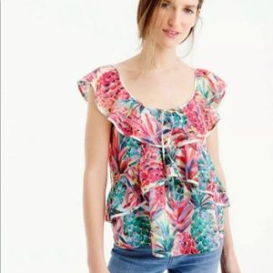 J.Crew Ruffle Top in Ratti Painted Pineapple
